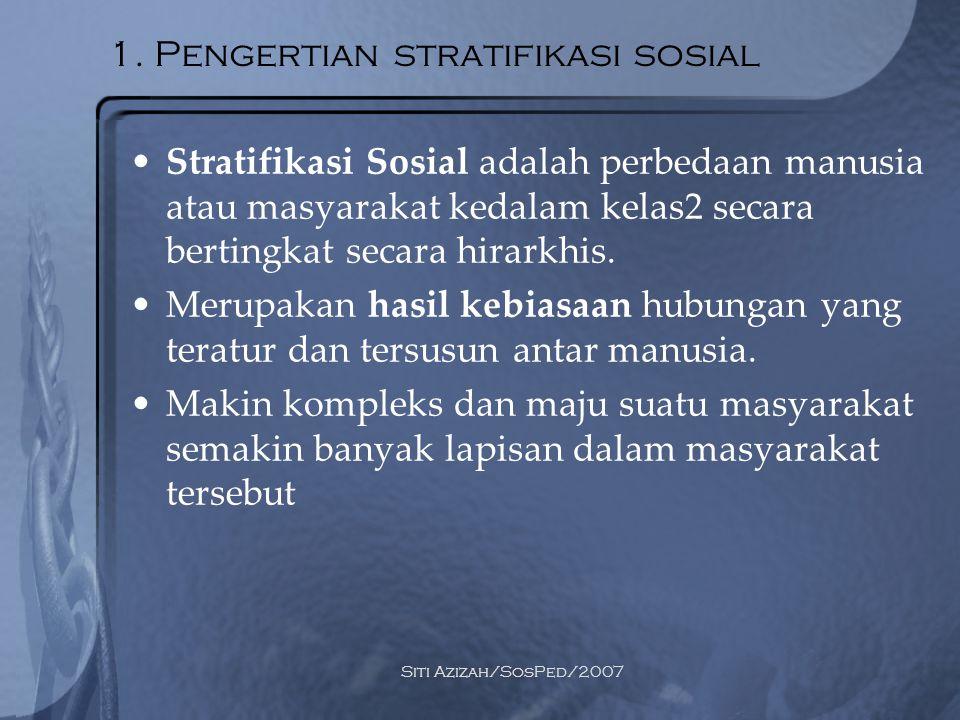 1. Pengertian stratifikasi sosial
