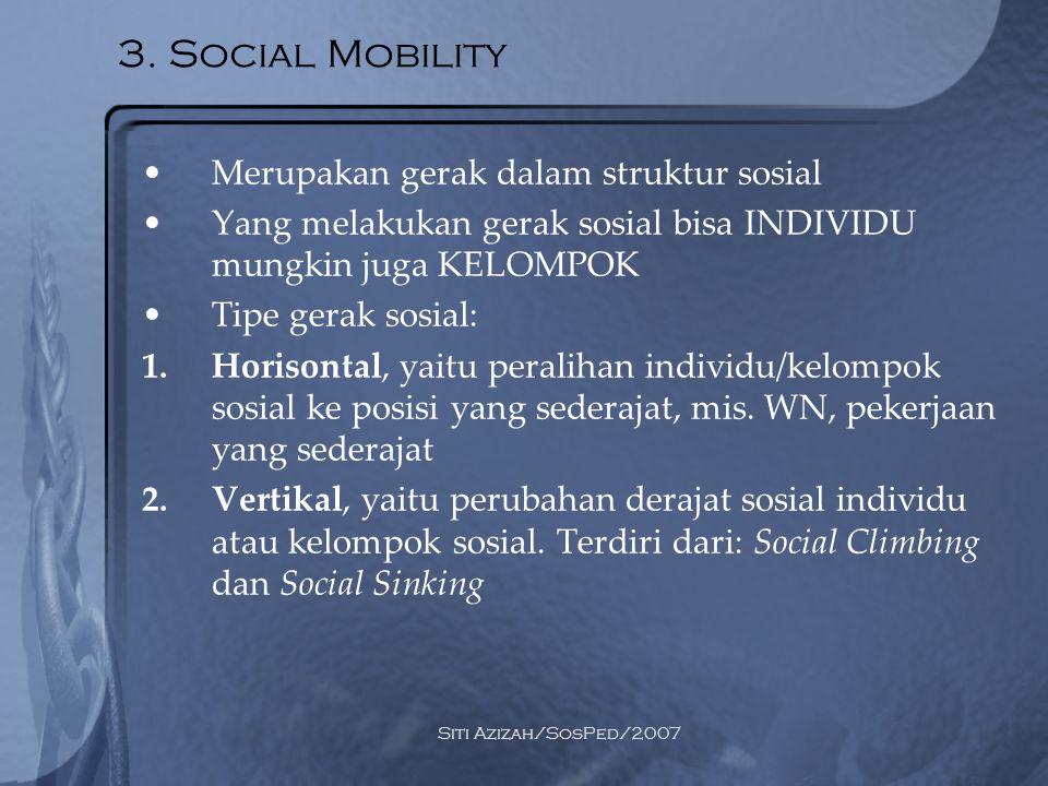 3. Social Mobility Merupakan gerak dalam struktur sosial