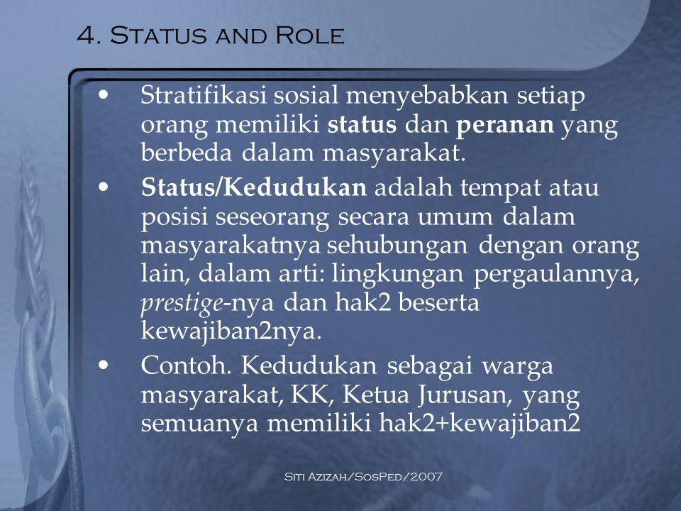 4. Status and Role Stratifikasi sosial menyebabkan setiap orang memiliki status dan peranan yang berbeda dalam masyarakat.