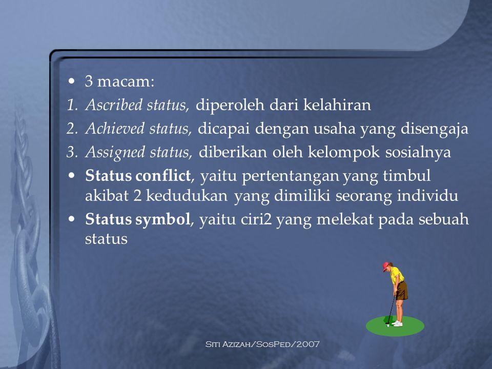 Ascribed status, diperoleh dari kelahiran