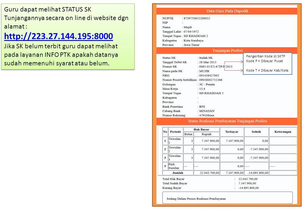 Guru dapat melihat STATUS SK Tunjangannya secara on line di website dgn alamat : http://223.27.144.195:8000