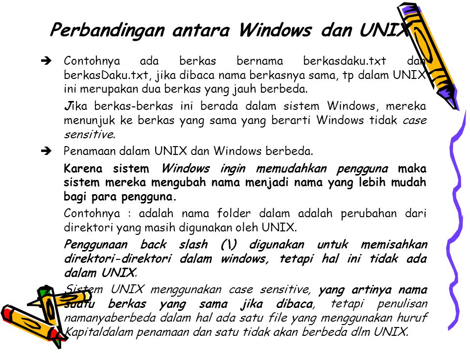 Perbandingan antara Windows dan UNIX