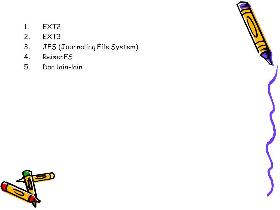 EXT2 EXT3 JFS (Journaling File System) ReiserFS Dan lain-lain