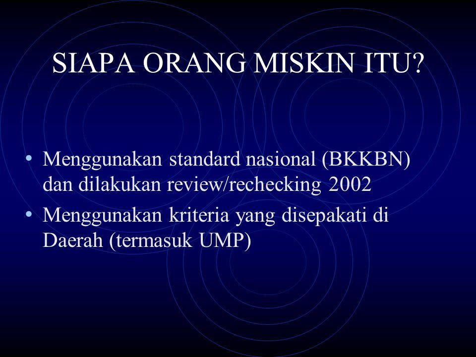 SIAPA ORANG MISKIN ITU Menggunakan standard nasional (BKKBN) dan dilakukan review/rechecking 2002.