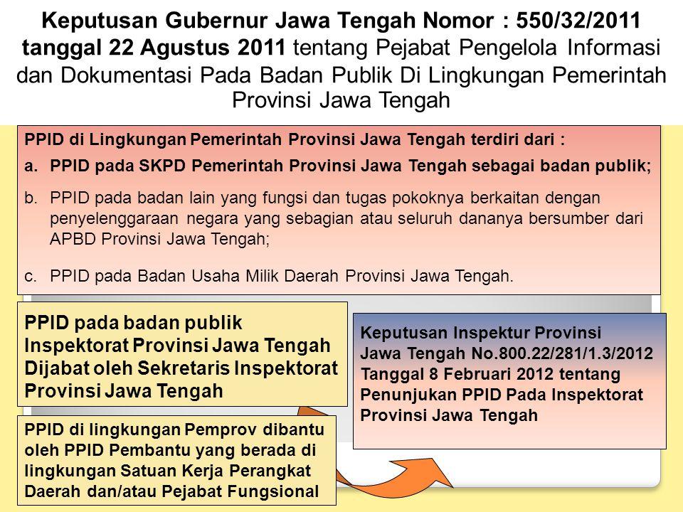 Keputusan Gubernur Jawa Tengah Nomor : 550/32/2011 tanggal 22 Agustus 2011 tentang Pejabat Pengelola Informasi dan Dokumentasi Pada Badan Publik Di Lingkungan Pemerintah Provinsi Jawa Tengah