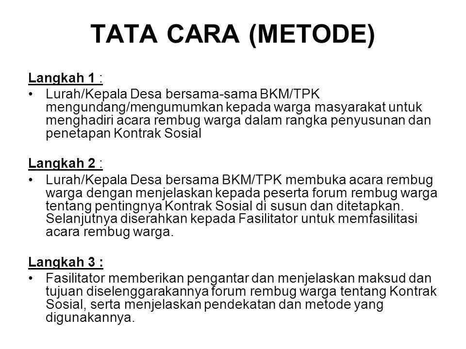 TATA CARA (METODE) Langkah 1 :