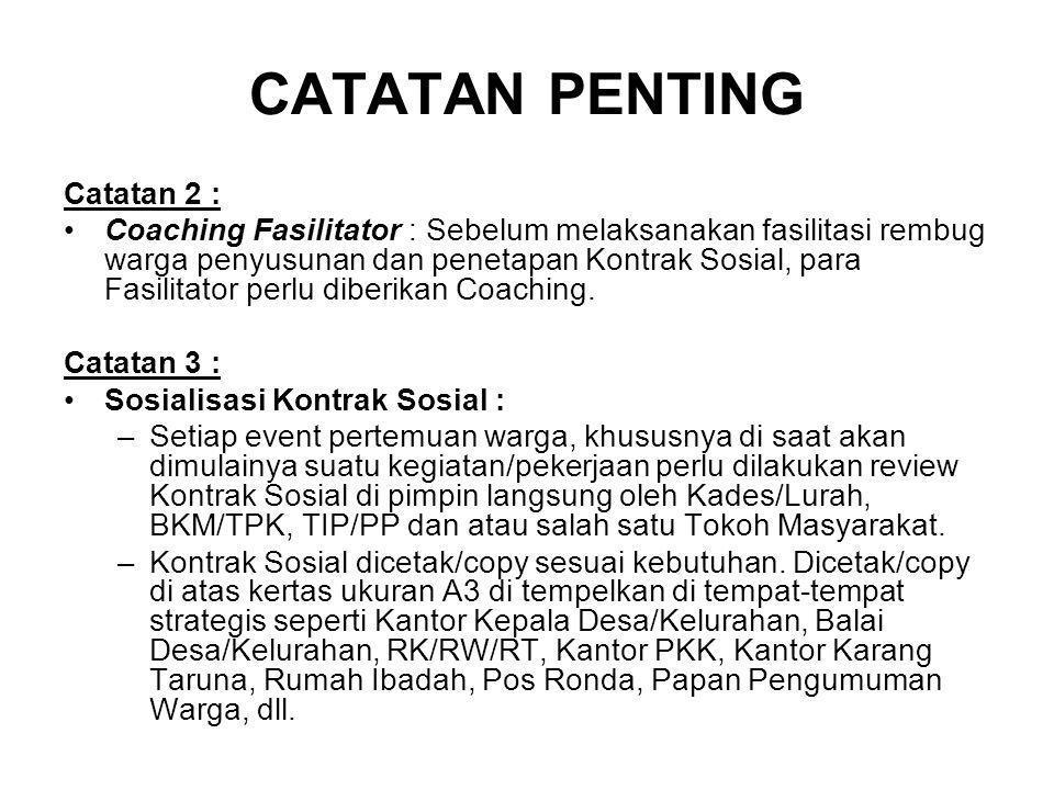 CATATAN PENTING Catatan 2 :