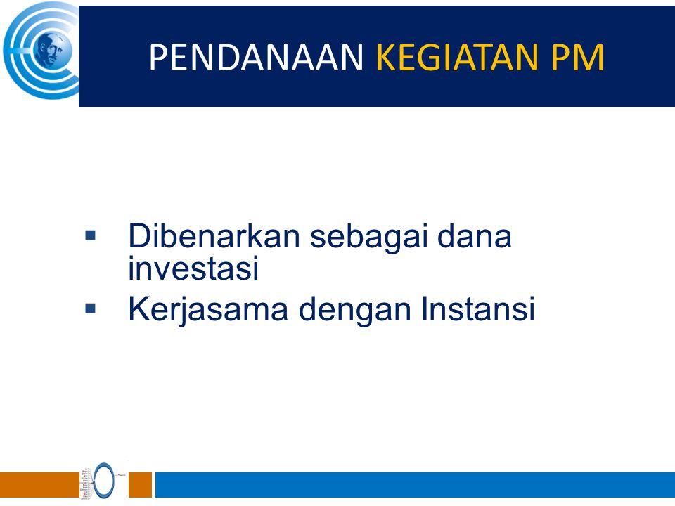PENDANAAN KEGIATAN PM Dibenarkan sebagai dana investasi