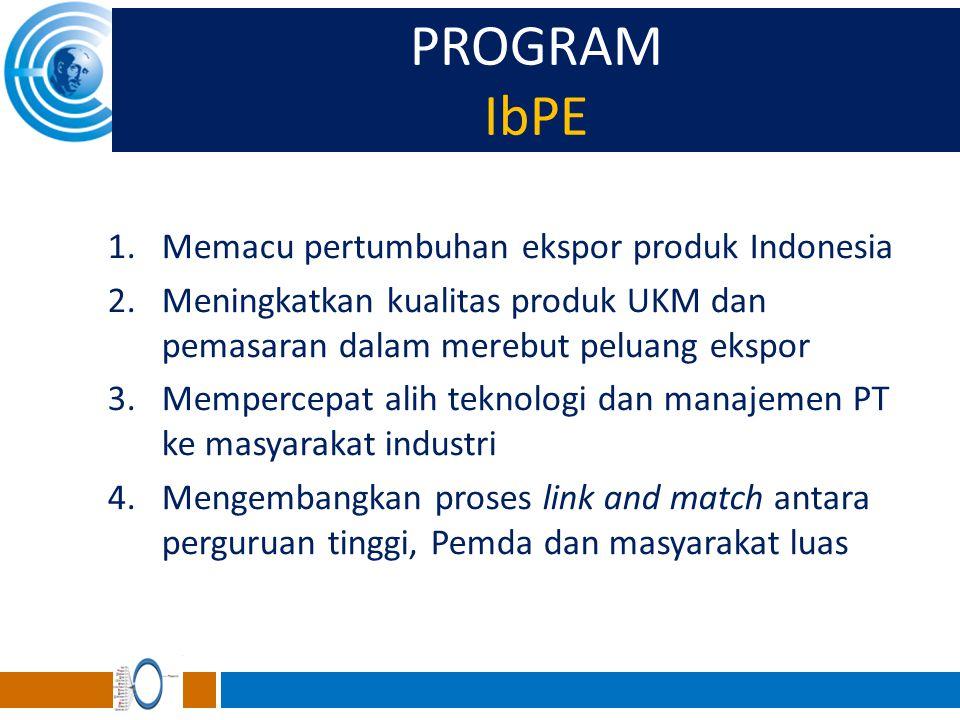 PROGRAM IbPE Memacu pertumbuhan ekspor produk Indonesia