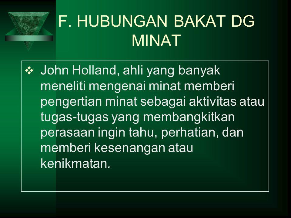 F. HUBUNGAN BAKAT DG MINAT