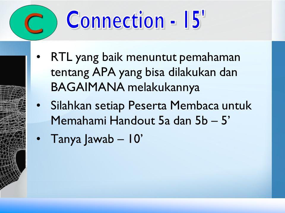 C Connection - 15 RTL yang baik menuntut pemahaman tentang APA yang bisa dilakukan dan BAGAIMANA melakukannya.