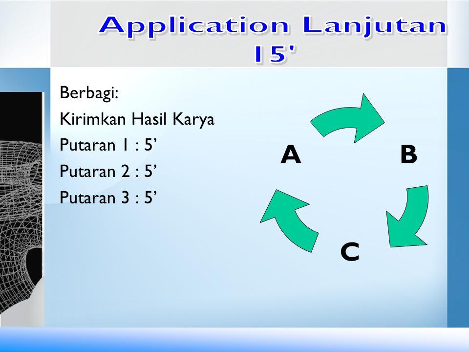 Application Lanjutan 15 Berbagi: Kirimkan Hasil Karya Putaran 1 : 5' Putaran 2 : 5' Putaran 3 : 5'