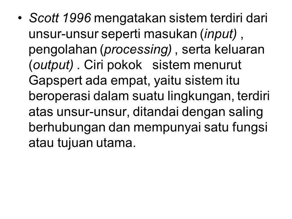 Scott 1996 mengatakan sistem terdiri dari unsur-unsur seperti masukan (input) , pengolahan (processing) , serta keluaran (output) .