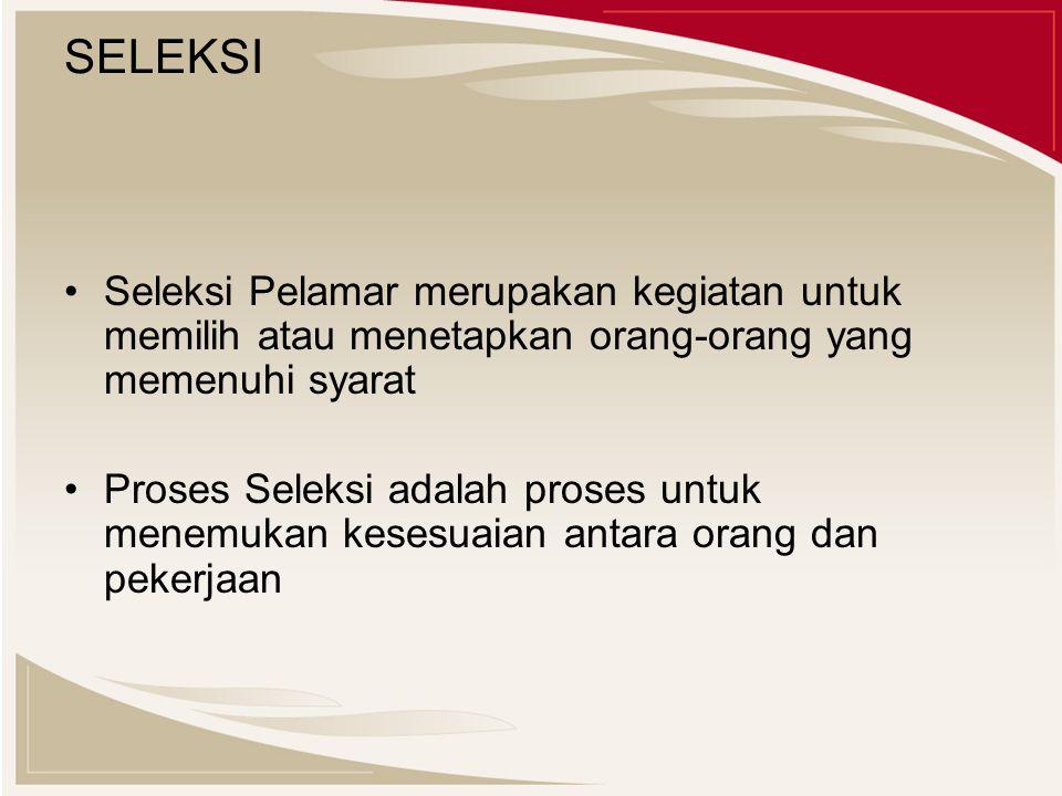 SELEKSI Seleksi Pelamar merupakan kegiatan untuk memilih atau menetapkan orang-orang yang memenuhi syarat.