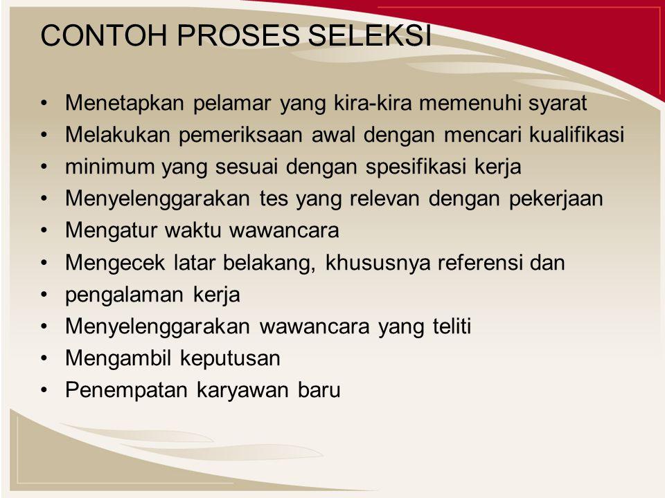CONTOH PROSES SELEKSI Menetapkan pelamar yang kira-kira memenuhi syarat. Melakukan pemeriksaan awal dengan mencari kualifikasi.