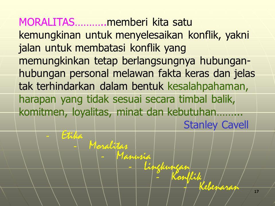 - Etika - Moralitas - Manusia - Lingkungan - Konflik - Kebenaran
