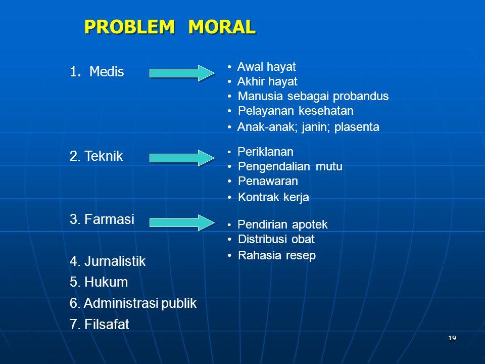 PROBLEM MORAL 1. Medis 2. Teknik 3. Farmasi 4. Jurnalistik 5. Hukum