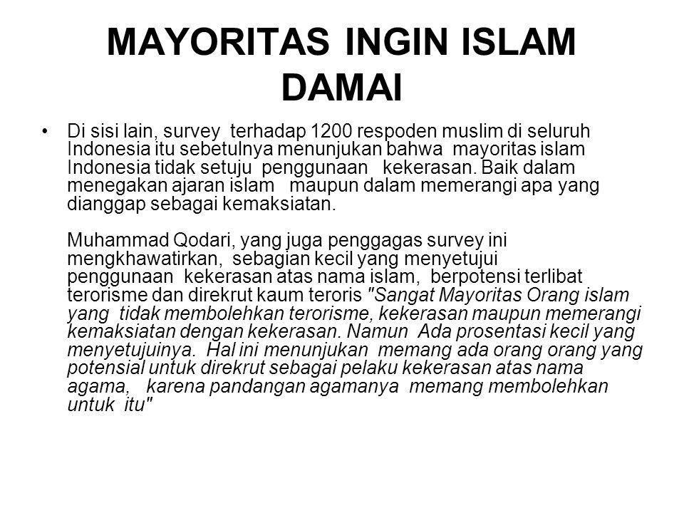 MAYORITAS INGIN ISLAM DAMAI