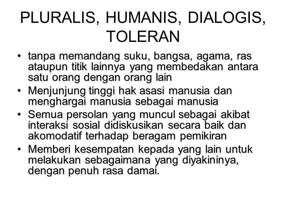 PLURALIS, HUMANIS, DIALOGIS, TOLERAN