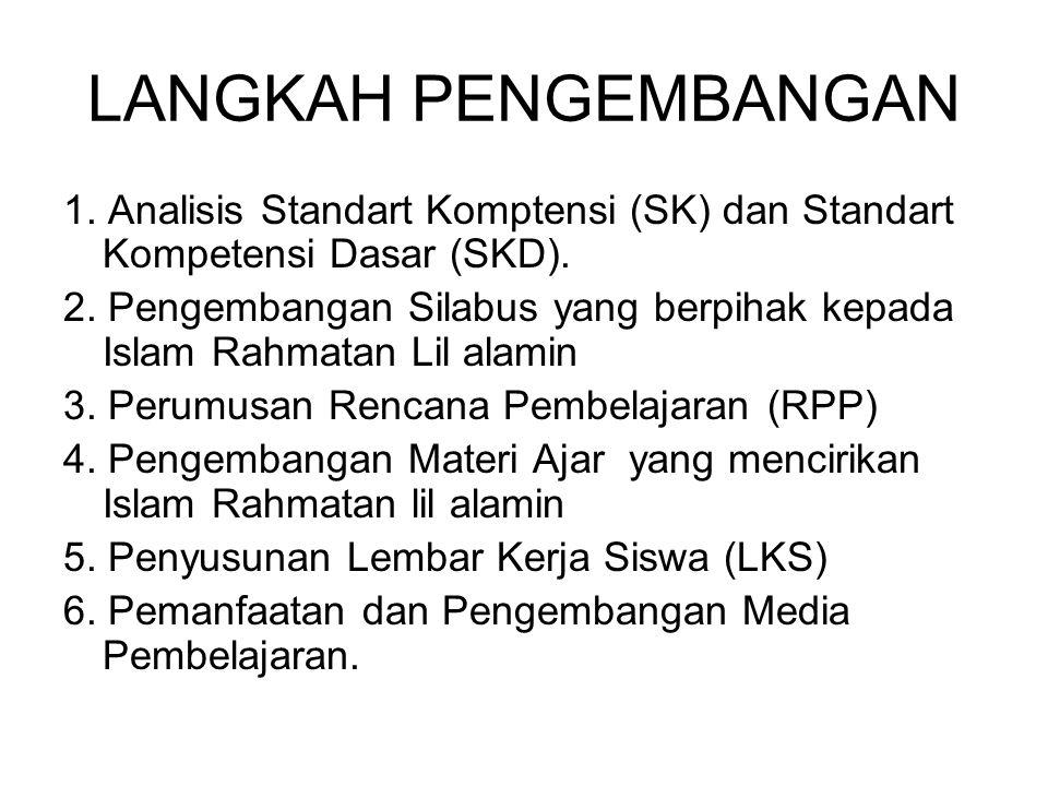 LANGKAH PENGEMBANGAN 1. Analisis Standart Komptensi (SK) dan Standart Kompetensi Dasar (SKD).