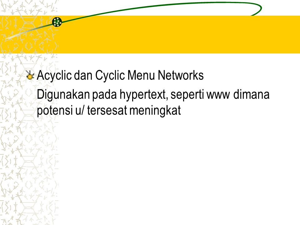 Acyclic dan Cyclic Menu Networks