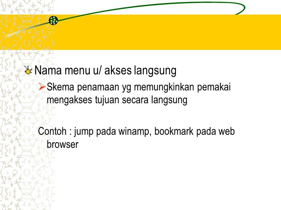 Nama menu u/ akses langsung