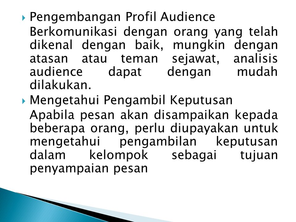 Pengembangan Profil Audience