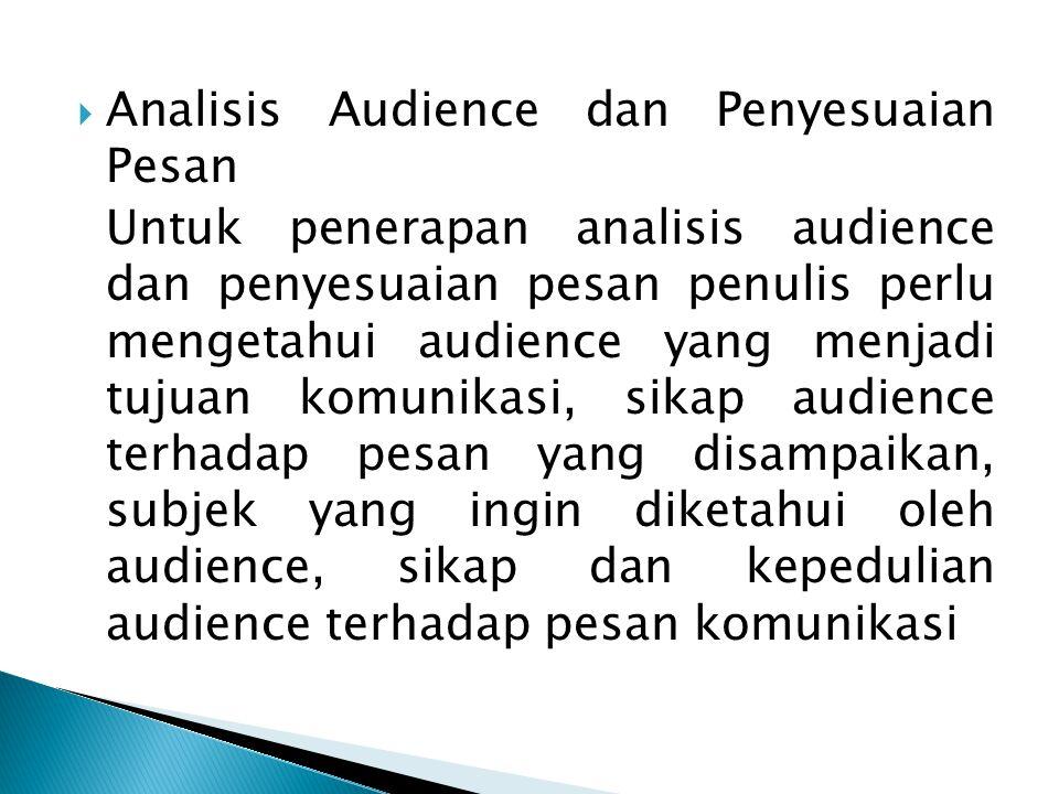 Analisis Audience dan Penyesuaian Pesan