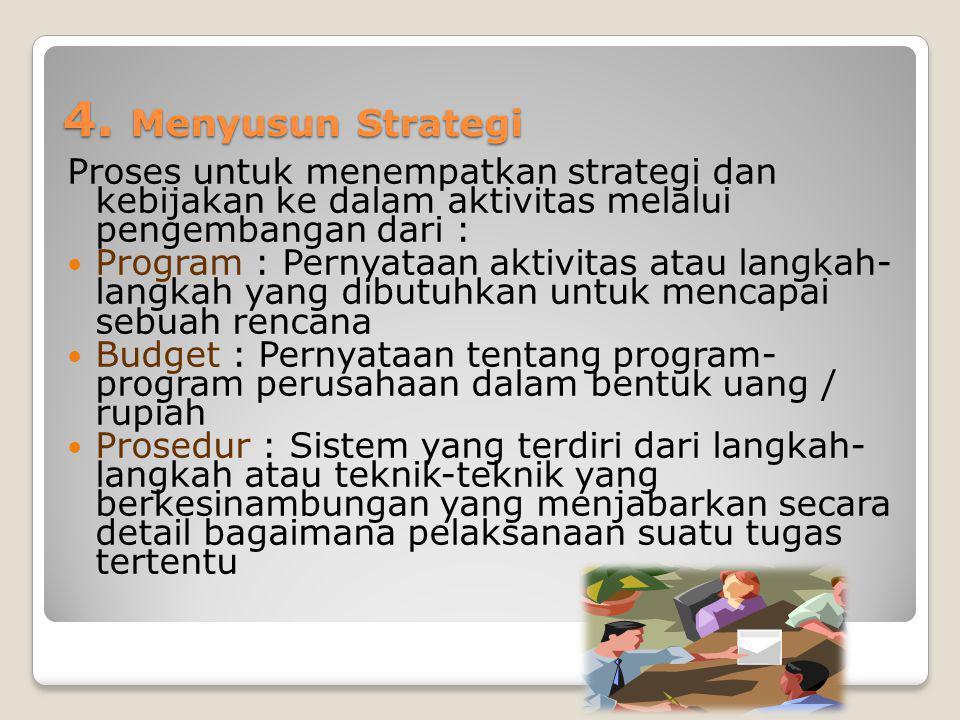 4. Menyusun Strategi Proses untuk menempatkan strategi dan kebijakan ke dalam aktivitas melalui pengembangan dari :