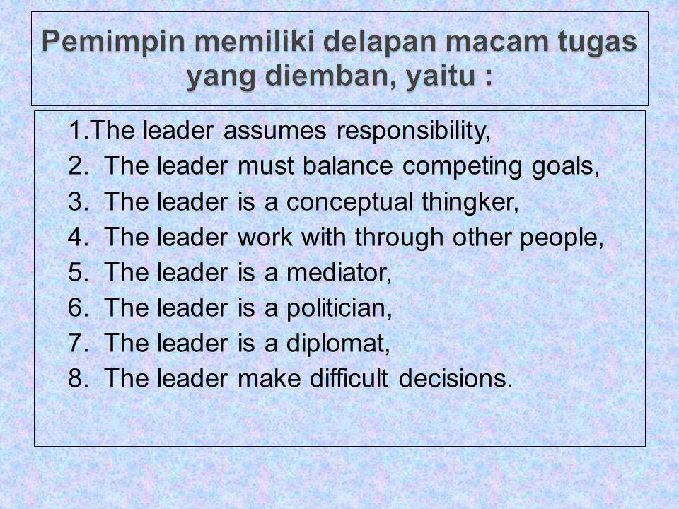 Pemimpin memiliki delapan macam tugas yang diemban, yaitu :