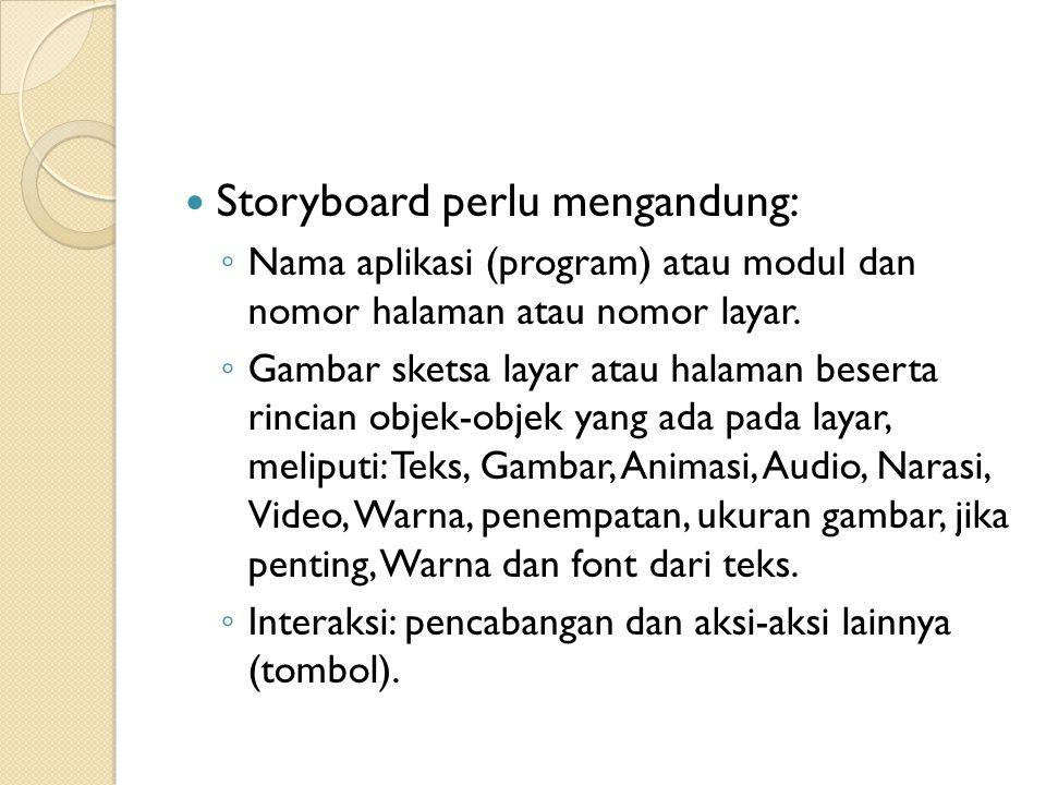 Storyboard perlu mengandung:
