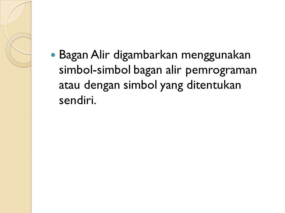 Bagan Alir digambarkan menggunakan simbol-simbol bagan alir pemrograman atau dengan simbol yang ditentukan sendiri.