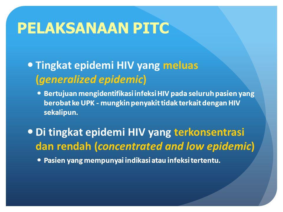 PELAKSANAAN PITC Tingkat epidemi HIV yang meluas (generalized epidemic)
