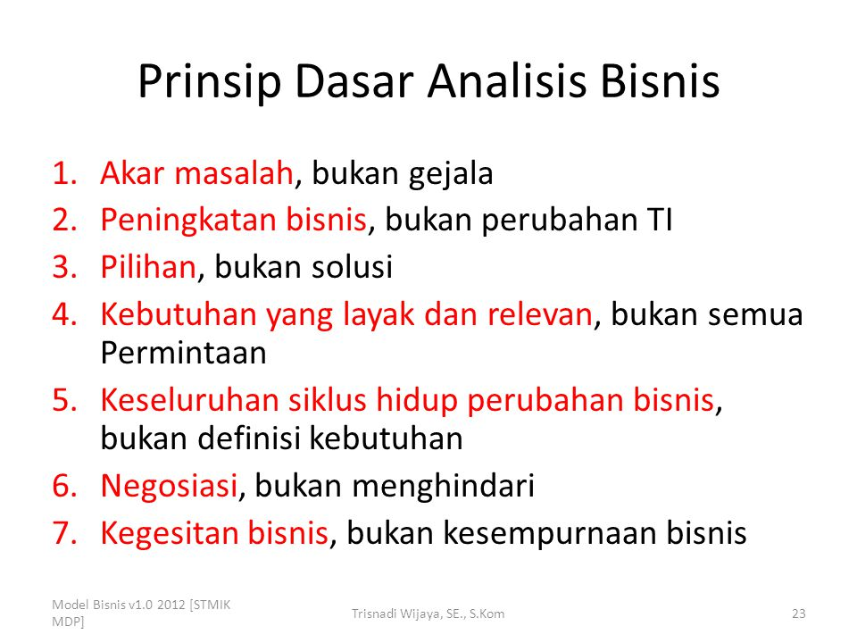 Prinsip Dasar Analisis Bisnis