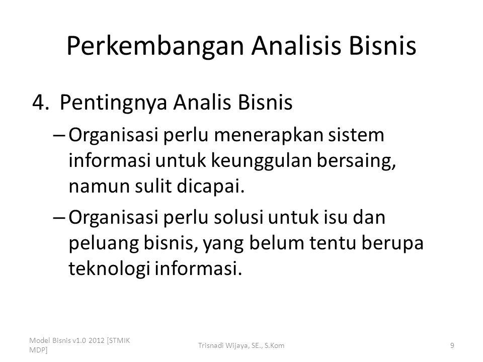Perkembangan Analisis Bisnis