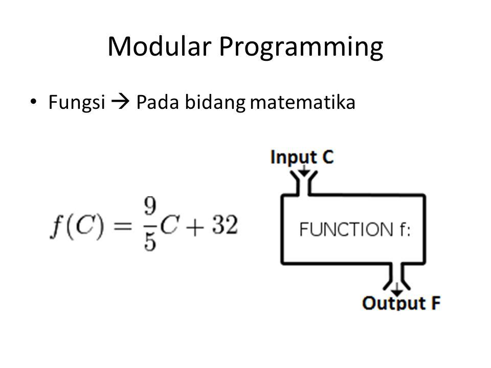 Modular Programming Fungsi  Pada bidang matematika