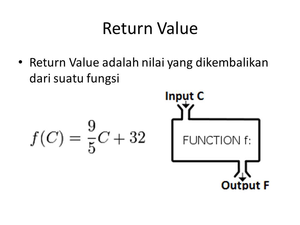 Return Value Return Value adalah nilai yang dikembalikan dari suatu fungsi
