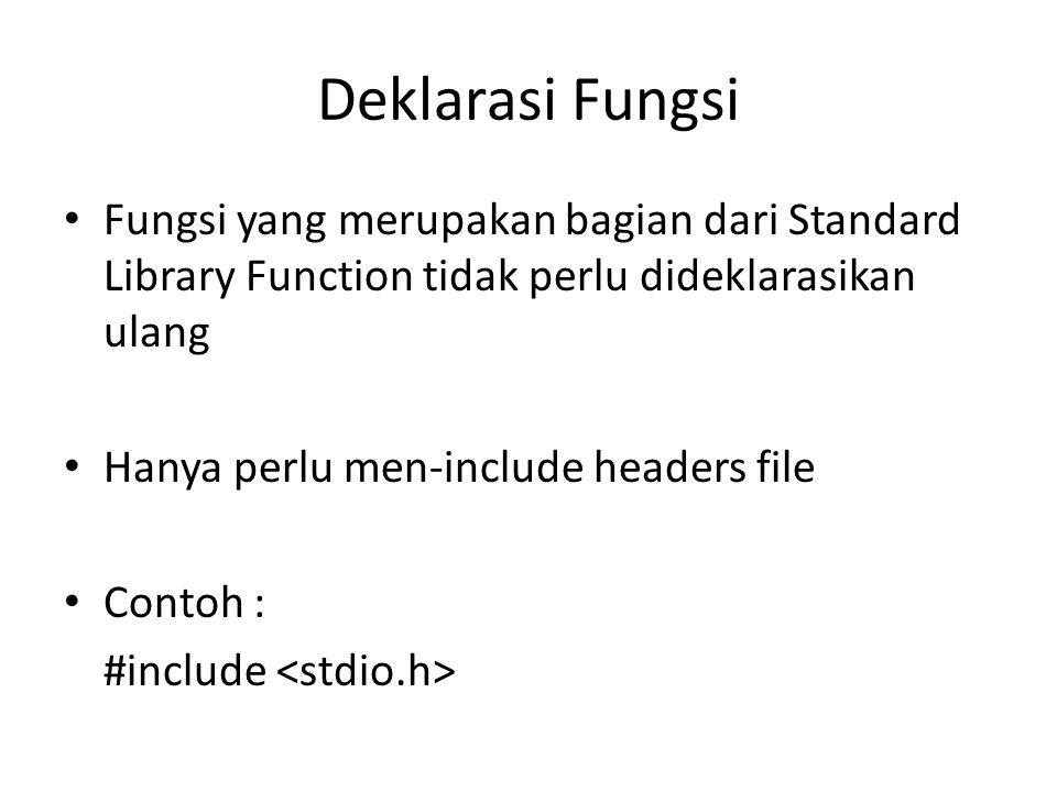 Deklarasi Fungsi Fungsi yang merupakan bagian dari Standard Library Function tidak perlu dideklarasikan ulang.
