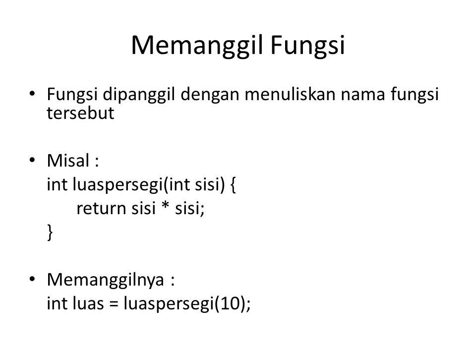 Memanggil Fungsi Fungsi dipanggil dengan menuliskan nama fungsi tersebut. Misal : int luaspersegi(int sisi) {