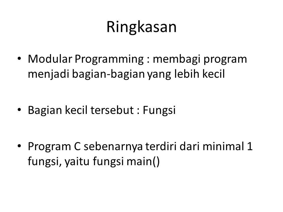 Ringkasan Modular Programming : membagi program menjadi bagian-bagian yang lebih kecil. Bagian kecil tersebut : Fungsi.