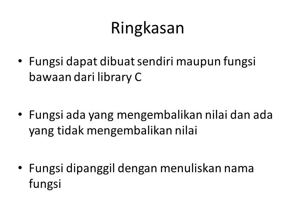 Ringkasan Fungsi dapat dibuat sendiri maupun fungsi bawaan dari library C.
