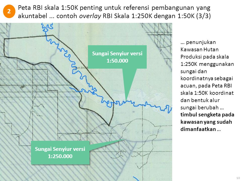 2 Peta RBI skala 1:50K penting untuk referensi pembangunan yang akuntabel ... contoh overlay RBI Skala 1:250K dengan 1:50K (3/3)