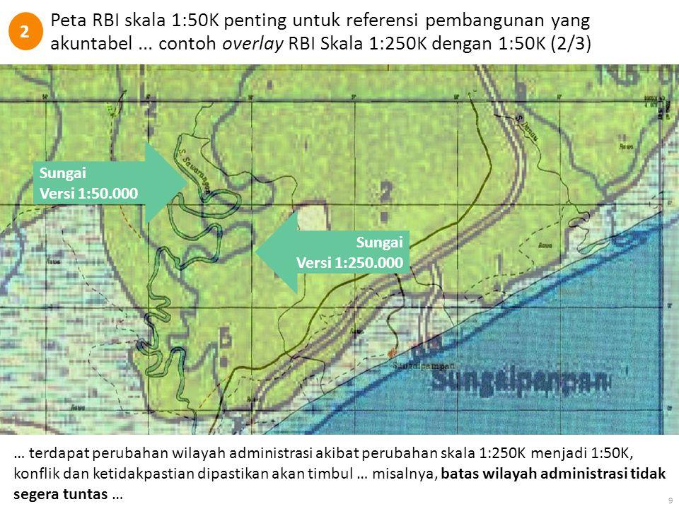 2 Peta RBI skala 1:50K penting untuk referensi pembangunan yang akuntabel ... contoh overlay RBI Skala 1:250K dengan 1:50K (2/3)