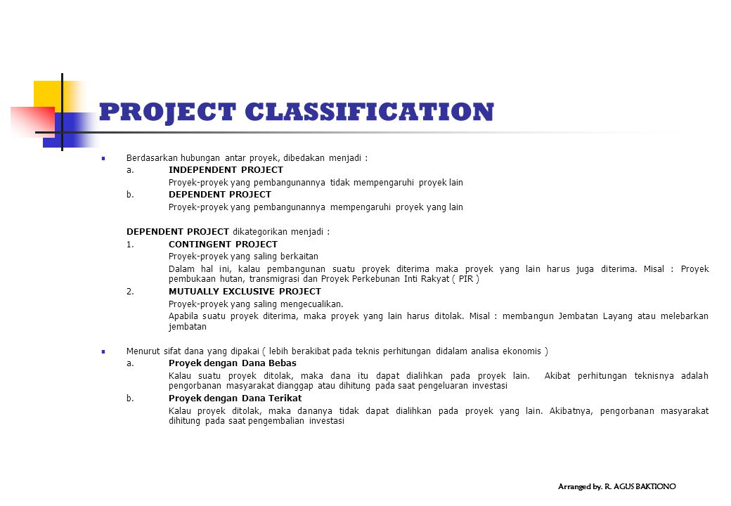 PROJECT CLASSIFICATION