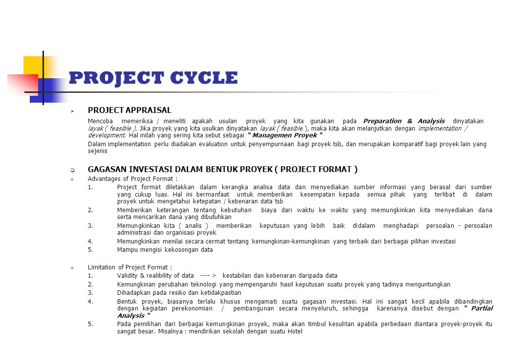 PROJECT CYCLE PROJECT APPRAISAL