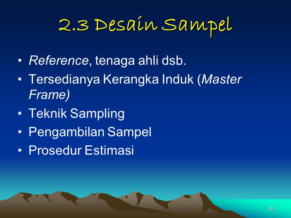 2.3 Desain Sampel Reference, tenaga ahli dsb.