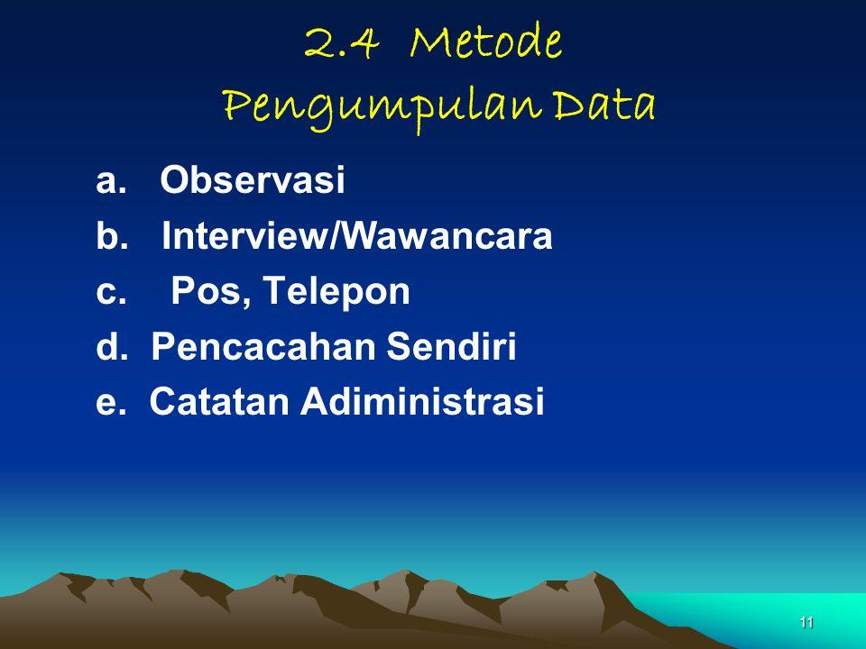 2.4 Metode Pengumpulan Data