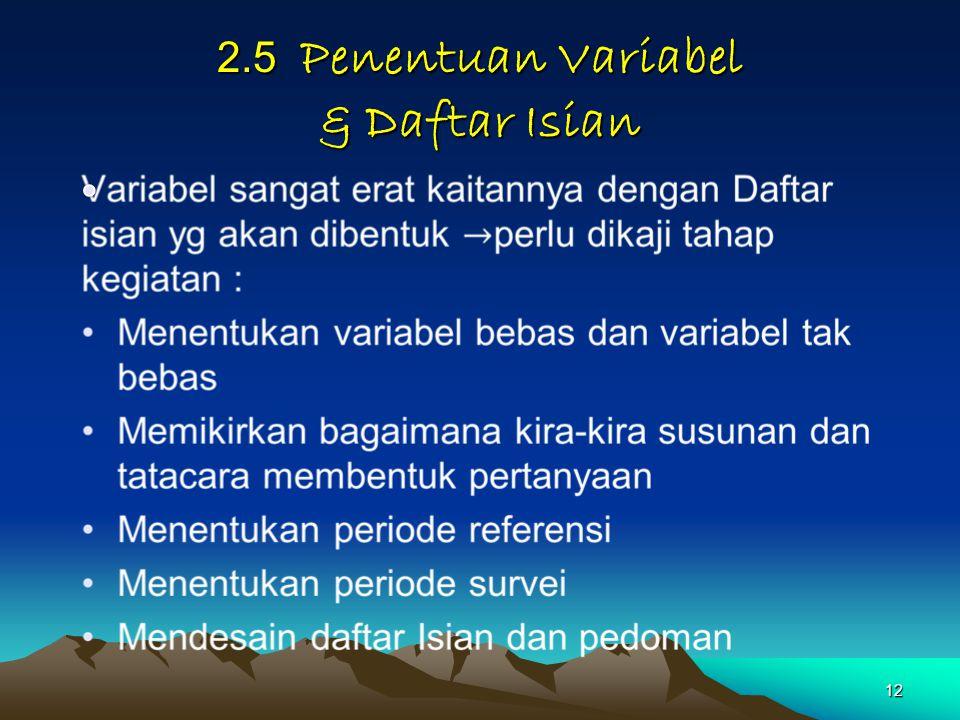 2.5 Penentuan Variabel & Daftar Isian