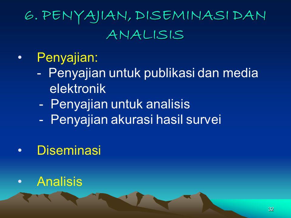 6. PENYAJIAN, DISEMINASI DAN ANALISIS