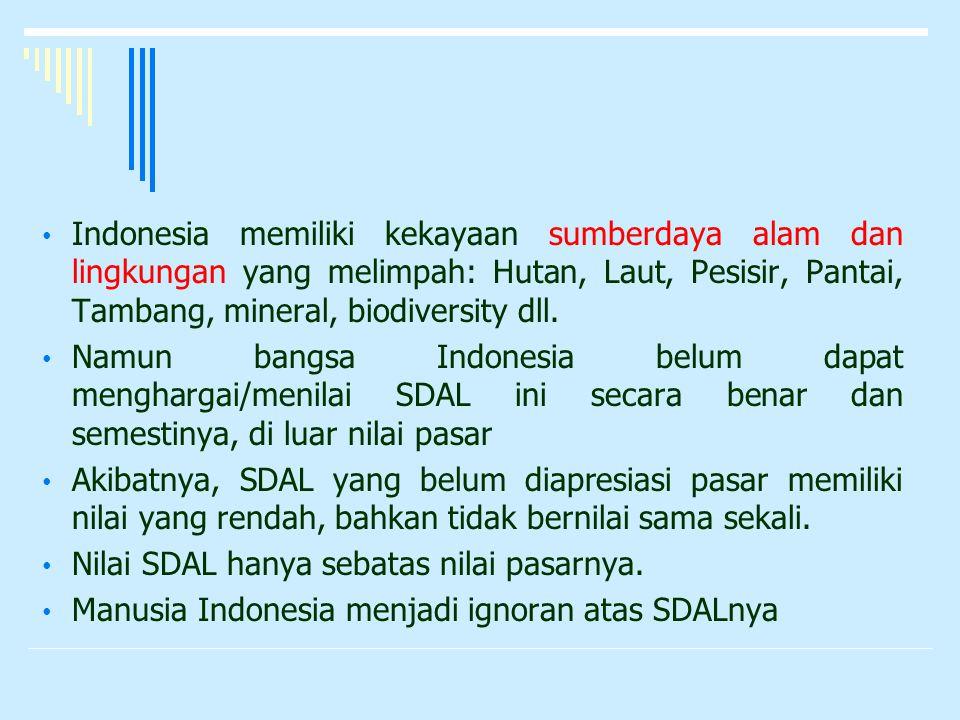 Indonesia memiliki kekayaan sumberdaya alam dan lingkungan yang melimpah: Hutan, Laut, Pesisir, Pantai, Tambang, mineral, biodiversity dll.